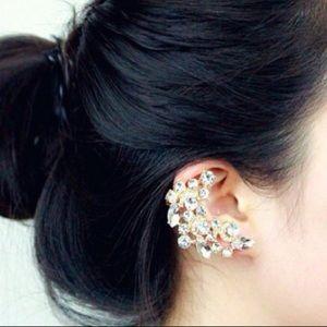 Crystal crescent ear climber., for pierced ears.